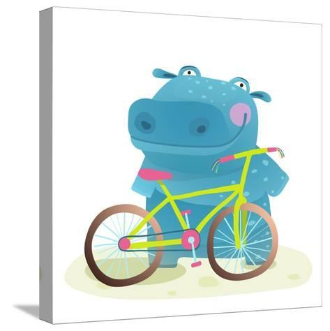 Hippo with Bicycle. Happy Fun Wild Animal Doing Bicycle Sport for Children Illustration.-Popmarleo-Stretched Canvas Print