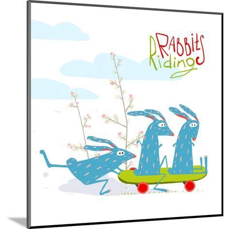 Colorful Funny Cartoon Rabbits Riding Skateboard. Amusing Skating Animals Illustration for Kids. Ve-Popmarleo-Mounted Art Print