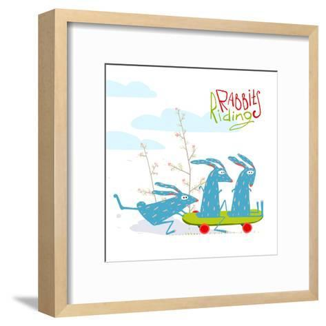 Colorful Funny Cartoon Rabbits Riding Skateboard. Amusing Skating Animals Illustration for Kids. Ve-Popmarleo-Framed Art Print