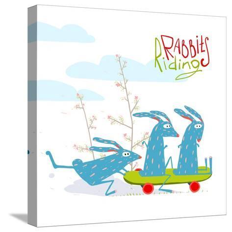 Colorful Funny Cartoon Rabbits Riding Skateboard. Amusing Skating Animals Illustration for Kids. Ve-Popmarleo-Stretched Canvas Print