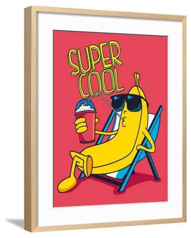 Cartoon Banana Vector Character, Milkshake- braingraph-Framed Art Print