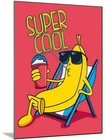 Cartoon Banana Vector Character, Milkshake- braingraph-Mounted Art Print