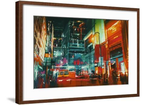 City Street at Night with Colorful Lights,Digital Painting-Tithi Luadthong-Framed Art Print