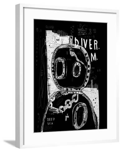 Wetsuit in Style of Graffiti on Black Background-Dmitriip-Framed Art Print