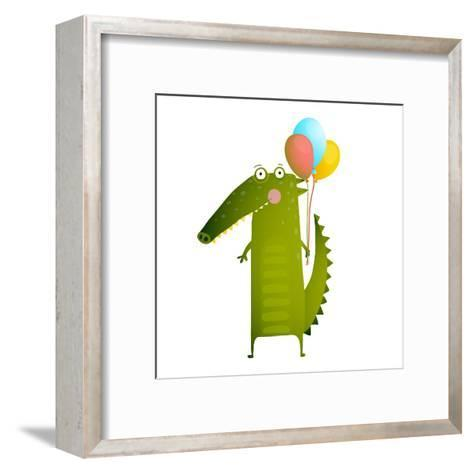 Kids Watercolor Style Crocodile with Balloons Colorful Cartoon. Happy Fun Watercolor Style Animal C-Popmarleo-Framed Art Print