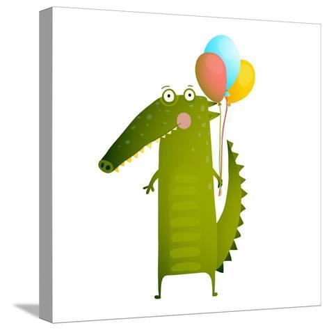 Kids Watercolor Style Crocodile with Balloons Colorful Cartoon. Happy Fun Watercolor Style Animal C-Popmarleo-Stretched Canvas Print