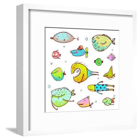 Cartoon Fun Humorous Fish Drawing Collection. Funny Cartoon Brightly Colored Fish Drawing Set. Penc-Popmarleo-Framed Art Print