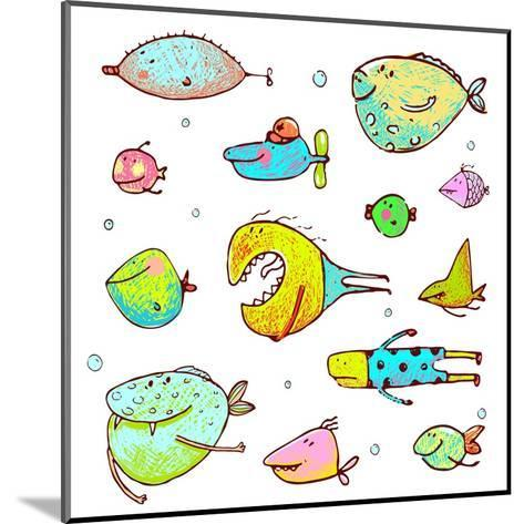 Cartoon Fun Humorous Fish Drawing Collection. Funny Cartoon Brightly Colored Fish Drawing Set. Penc-Popmarleo-Mounted Art Print