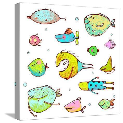 Cartoon Fun Humorous Fish Drawing Collection. Funny Cartoon Brightly Colored Fish Drawing Set. Penc-Popmarleo-Stretched Canvas Print