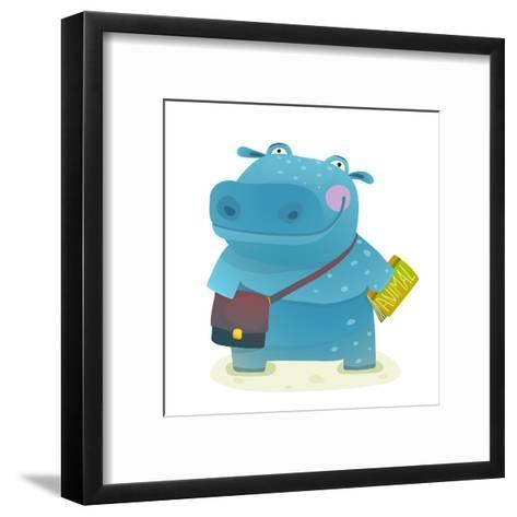 Hippopotamus Kid Student with Book and Bag Going to School. Happy Fun Watercolor Style Pupil Animal-Popmarleo-Framed Art Print
