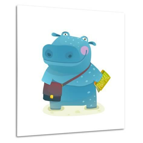 Hippopotamus Kid Student with Book and Bag Going to School. Happy Fun Watercolor Style Pupil Animal-Popmarleo-Metal Print