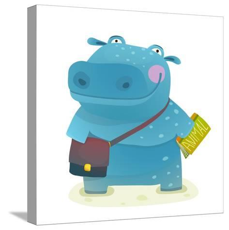 Hippopotamus Kid Student with Book and Bag Going to School. Happy Fun Watercolor Style Pupil Animal-Popmarleo-Stretched Canvas Print