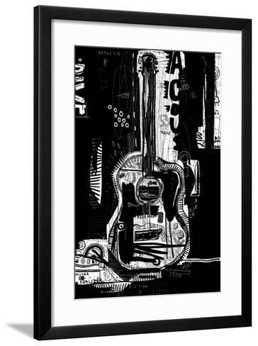The Symbolic Image of an Acoustic Guitar on a Black Background-Dmitriip-Framed Art Print