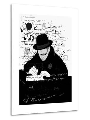 Symbolic Image of a Man Who Writes a Letter with Pen and Ink-Dmitriip-Metal Print