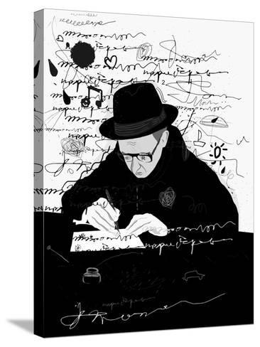 Symbolic Image of a Man Who Writes a Letter with Pen and Ink-Dmitriip-Stretched Canvas Print