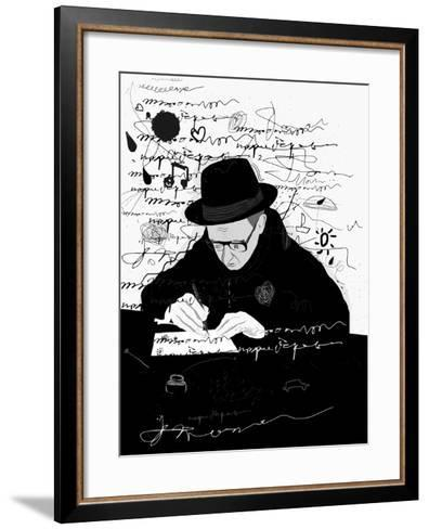 Symbolic Image of a Man Who Writes a Letter with Pen and Ink-Dmitriip-Framed Art Print