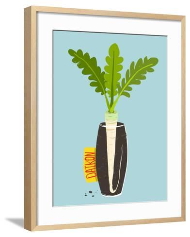 Growing Daikon Radish with Green Leafy Top in Vase. Root Vegetable Container Gardening Illustration-Popmarleo-Framed Art Print