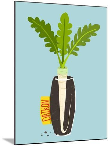 Growing Daikon Radish with Green Leafy Top in Vase. Root Vegetable Container Gardening Illustration-Popmarleo-Mounted Art Print