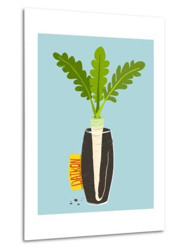 Growing Daikon Radish with Green Leafy Top in Vase. Root Vegetable Container Gardening Illustration-Popmarleo-Metal Print