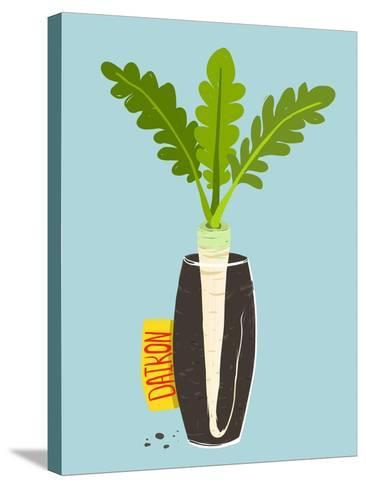 Growing Daikon Radish with Green Leafy Top in Vase. Root Vegetable Container Gardening Illustration-Popmarleo-Stretched Canvas Print