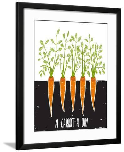 Growing Carrots Scratchy Drawing and Lettering. Raster Variant.-Popmarleo-Framed Art Print