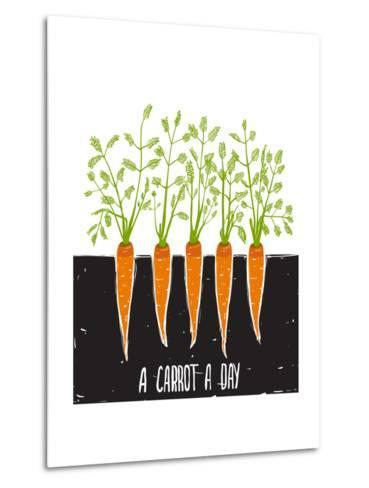 Growing Carrots Scratchy Drawing and Lettering. Raster Variant.-Popmarleo-Metal Print
