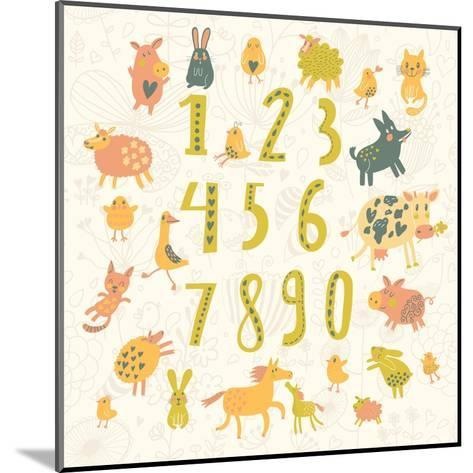 Learn to Count. All Numbers and Funny Cartoon Animals: Cat, Dog, Cow, Horse, Rabbit and Others in C-smilewithjul-Mounted Art Print