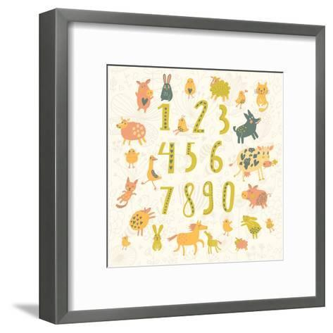 Learn to Count. All Numbers and Funny Cartoon Animals: Cat, Dog, Cow, Horse, Rabbit and Others in C-smilewithjul-Framed Art Print