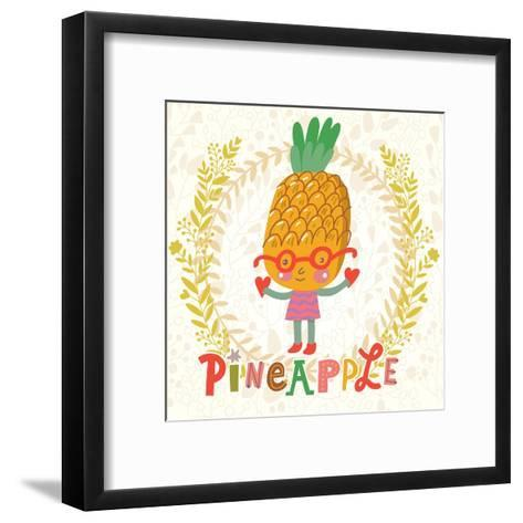 Sweet Pineapple in Funny Cartoon Style. Healthy Concept Card in Vector. Stunning Tasty Background I-smilewithjul-Framed Art Print