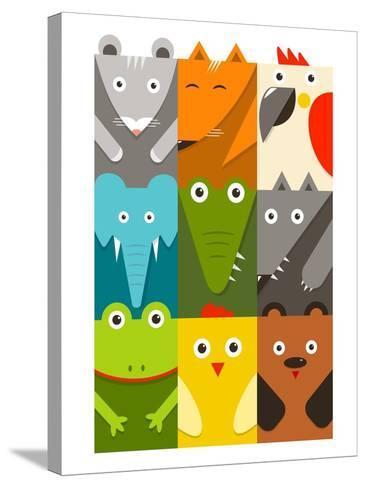 Flat Childish Rectangular Animals Set. Animals Design Collection. Vector Layered Eps8 Illustration.-Popmarleo-Stretched Canvas Print