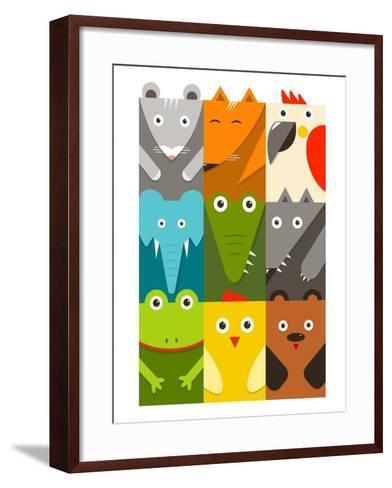 Flat Childish Rectangular Animals Set. Animals Design Collection. Vector Layered Eps8 Illustration.-Popmarleo-Framed Art Print
