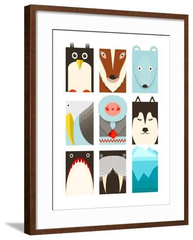 Flat Arctic Symbols Set. North Pole Animals Collection. Vector Layered Eps8 Illustration.-Popmarleo-Framed Art Print