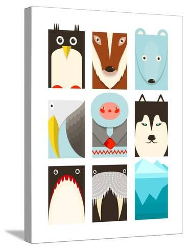Flat Arctic Symbols Set. North Pole Animals Collection. Vector Layered Eps8 Illustration.-Popmarleo-Stretched Canvas Print