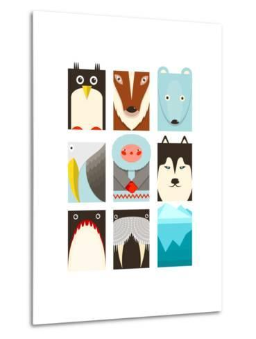 Flat Arctic Symbols Set. North Pole Animals Collection. Vector Layered Eps8 Illustration.-Popmarleo-Metal Print