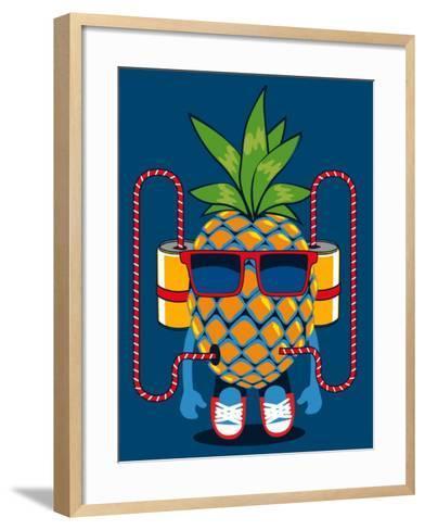Cool Pineapple Character Vector Design- braingraph-Framed Art Print