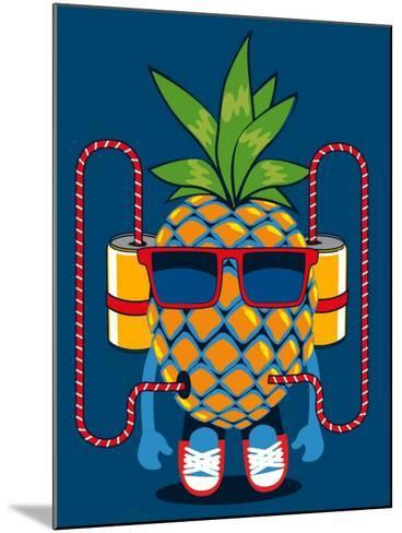 Cool Pineapple Character Vector Design- braingraph-Mounted Art Print