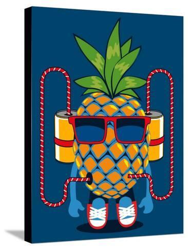 Cool Pineapple Character Vector Design- braingraph-Stretched Canvas Print