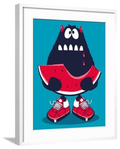 Cute Monster, Watermelon Vector Design- braingraph-Framed Art Print