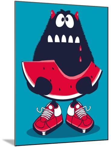 Cute Monster, Watermelon Vector Design- braingraph-Mounted Art Print