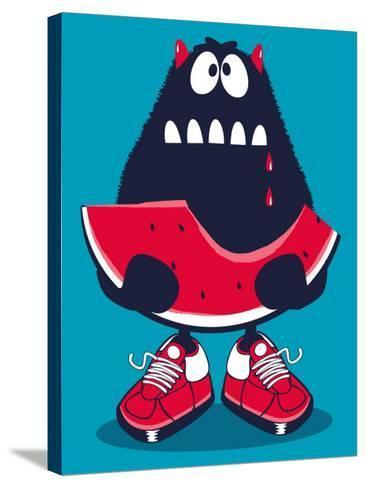 Cute Monster, Watermelon Vector Design- braingraph-Stretched Canvas Print