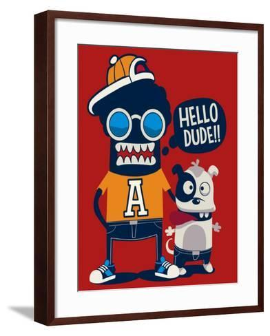 Monster, Dog, Friends, Cool, Cute Vector Character Design- braingraph-Framed Art Print