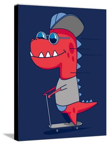 Cool Dinosaur Character Design- braingraph-Stretched Canvas Print
