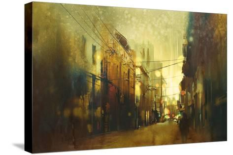 City Street,Illustration Painting with Vintage Style-Tithi Luadthong-Stretched Canvas Print