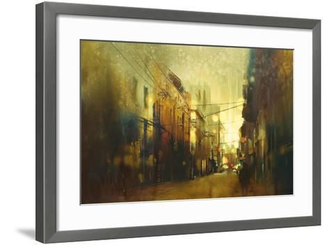City Street,Illustration Painting with Vintage Style-Tithi Luadthong-Framed Art Print