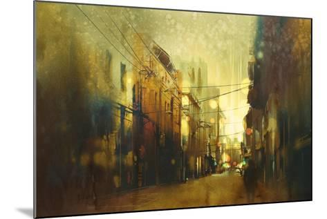 City Street,Illustration Painting with Vintage Style-Tithi Luadthong-Mounted Art Print