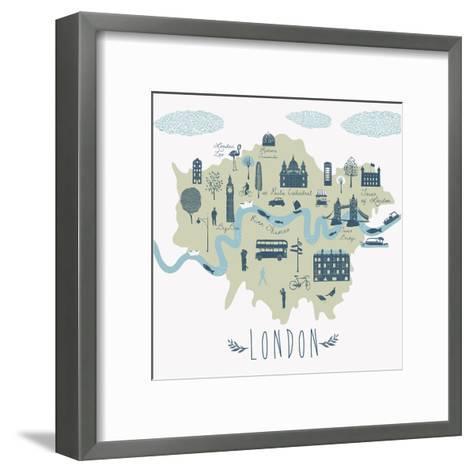 Map of London Attractions-Lavandaart-Framed Art Print