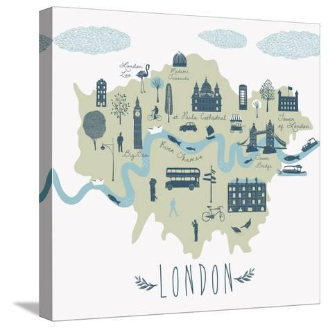 Map of London Attractions-Lavandaart-Stretched Canvas Print