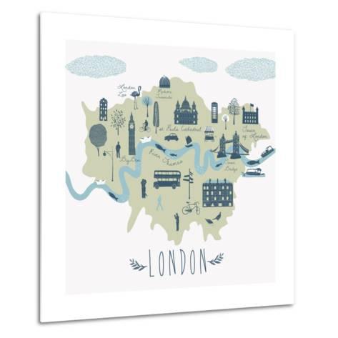 Map of London Attractions-Lavandaart-Metal Print