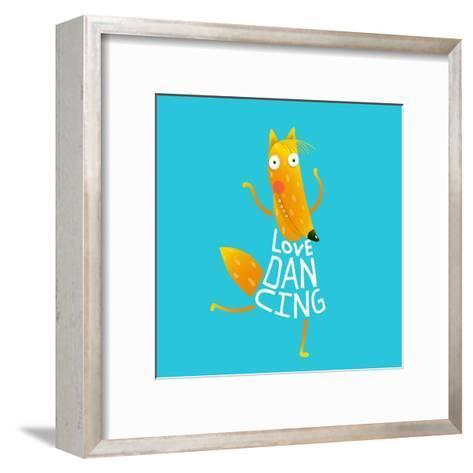 Smiling Orange Fox in Blue Dress Dancing with Text - Love Dancing. Hand Drawn Style. Cartoon Charac-Popmarleo-Framed Art Print