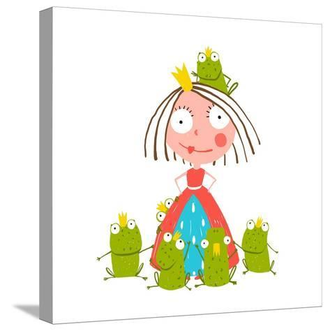 Princess and Many Prince Frogs Portrait Colored Drawing. Colorful Fun Childish Hand Drawn Illustrat-Popmarleo-Stretched Canvas Print
